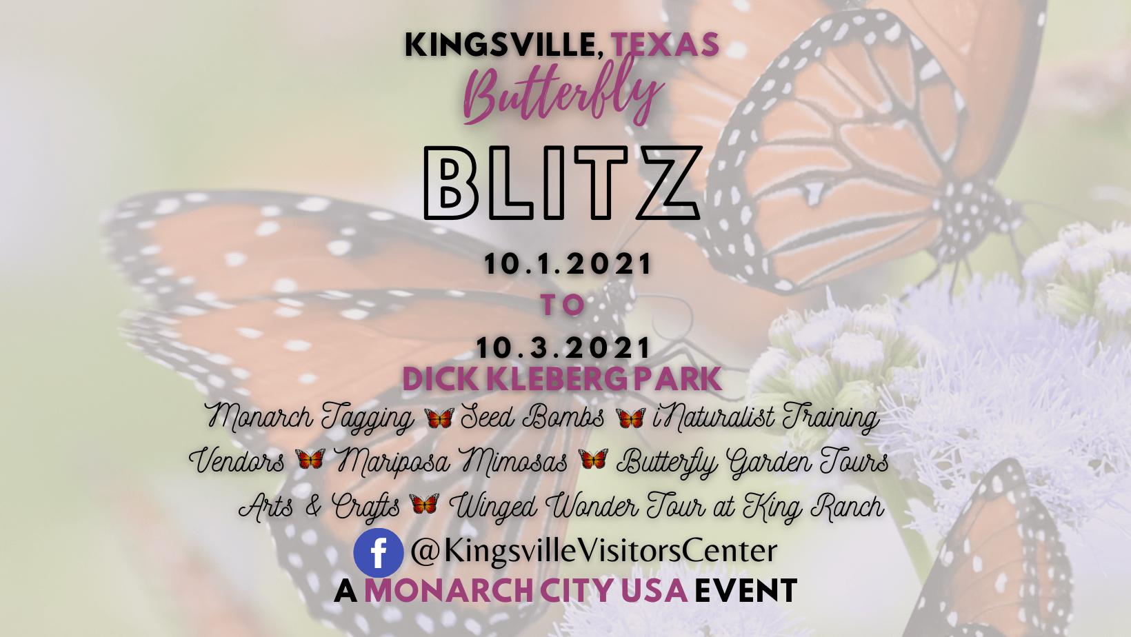 Kingsville Butterfly Blitz - October 1st to 3rd at Dick Kleberg Park